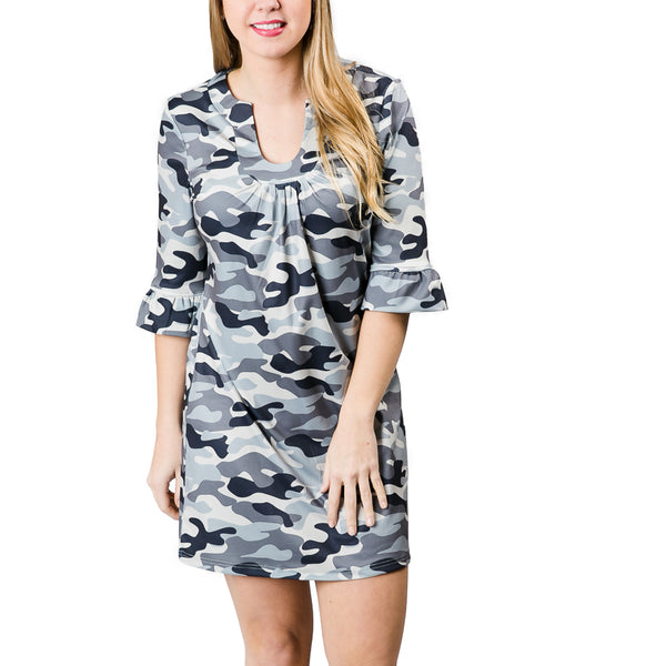 Norah Dress in Gray Camo