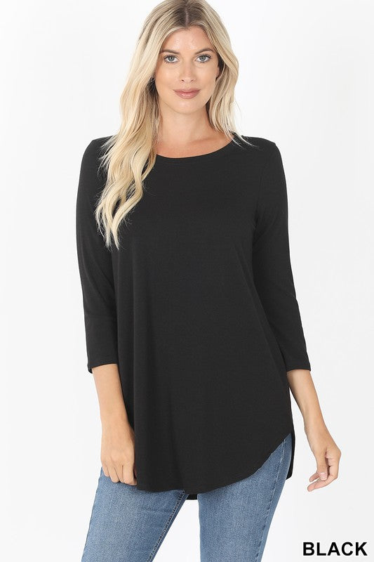 3/4 Sleeve Round Neck Tee (multiple colors)