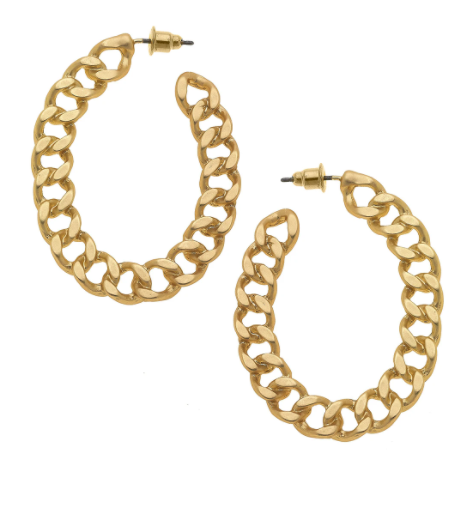 Elin Chain Hoop Earrings