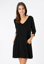3/4, V-neck dress (2 colors)