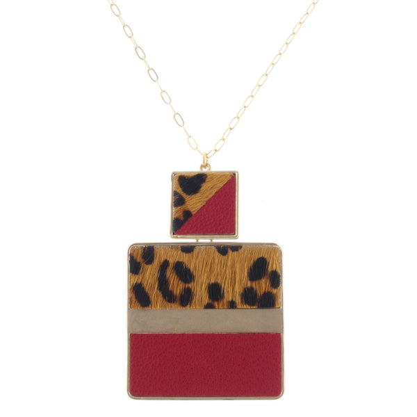 Leather Square Pendant Necklace
