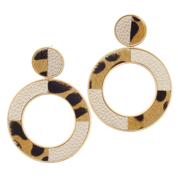Leopard and Leather Earring