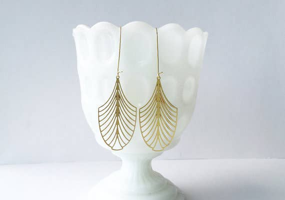 Art Deco Leaf Earrings