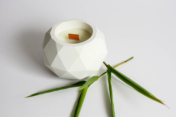 "4"" x 3"" Geodesic White Bamboo Soy Candle"