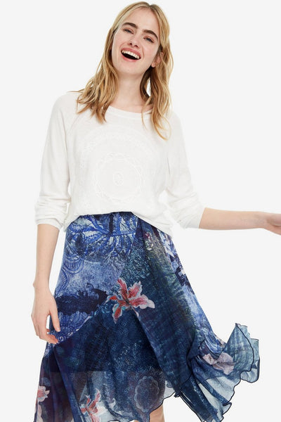 Floral Skirt with Strech Waist
