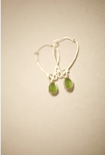 Silver Hoops with Sea Glass Charm