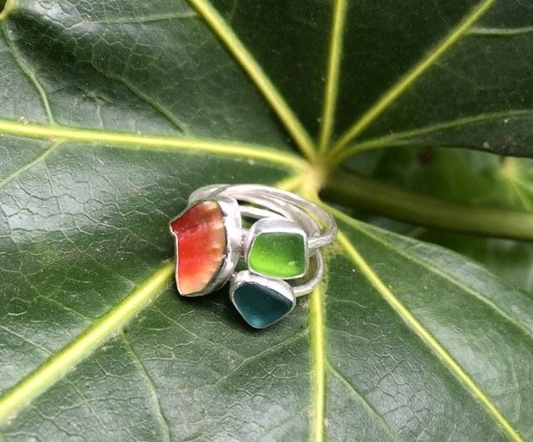 3 Piece Seaglass Stack Ring
