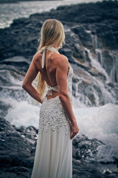 Halter Low Back Wedding Dress
