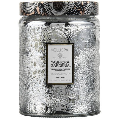 Large Embossed Glass Jar Candle