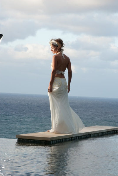 Halter, Low Back Wedding Dress