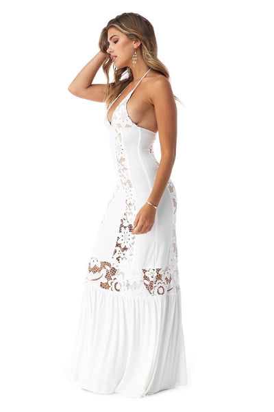 White Crochet Halter dress