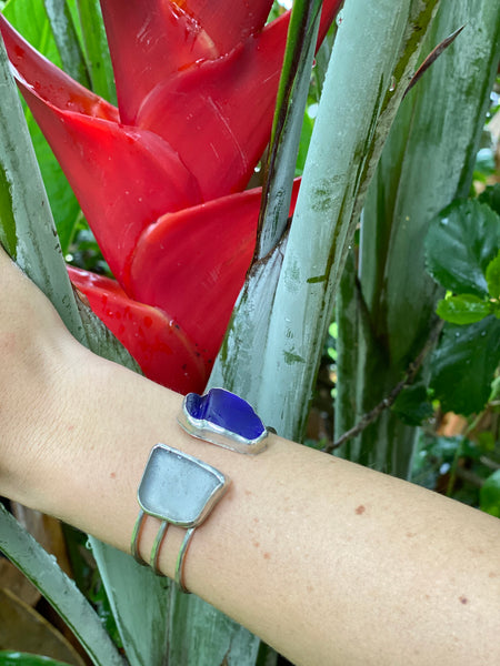 3 Wire Double Sea glass cuff