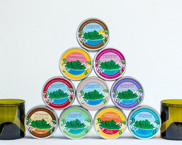 Hawaiian made soy wax candles in travel tin