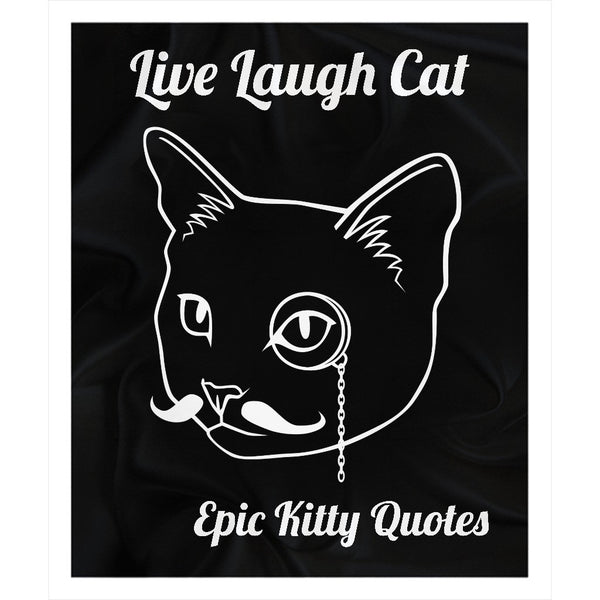 Cat Blanket for People Fleece Sherpa Throw Live Laugh Cat 100% Polyester 50x60 inch EKQ, Blanket, EpicKittyQuotes