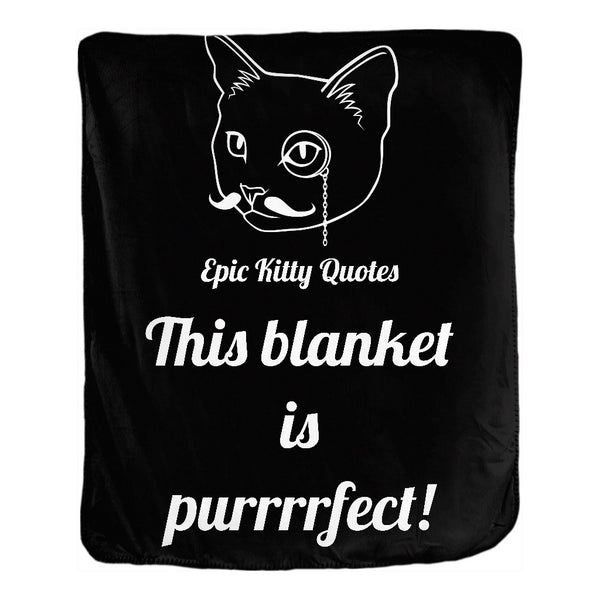 Cat Blanket for People Double Sided Velveteen Throw This blanket is purrrrfect! 50x60 inch EKQ, Blanket, EpicKittyQuotes