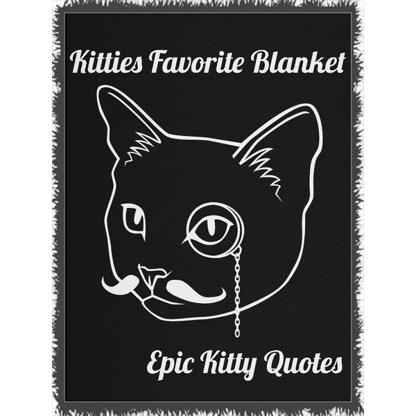Cat Blanket for People Woven Throw Kitties Favorite Blanket 100% Cotton 60x80 inch EKQ, Blanket, EpicKittyQuotes