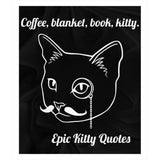 Unique Gifts for Cat Lovers Fleece Sherpa Blanket Coffee, blanket, book, kitty. 100% Polyester 50x60 inch EKQ, Blanket, EpicKittyQuotes
