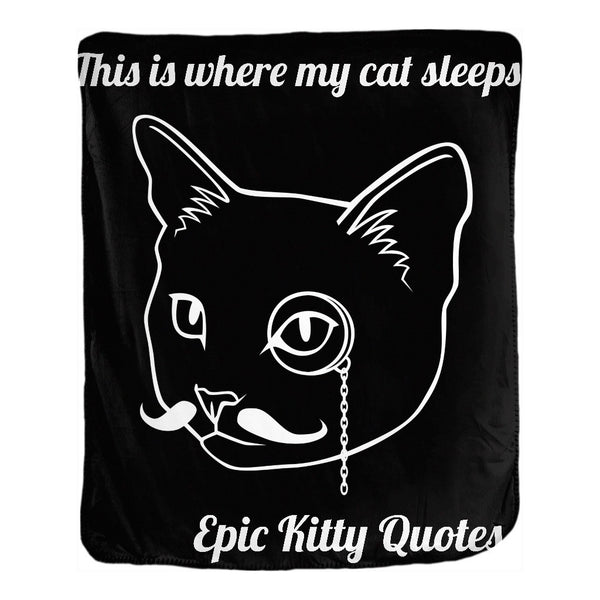 Cat Blanket for People Velveteen Throw This is where my cat sleeps. 50x60 inch EKQ, Blanket, EpicKittyQuotes