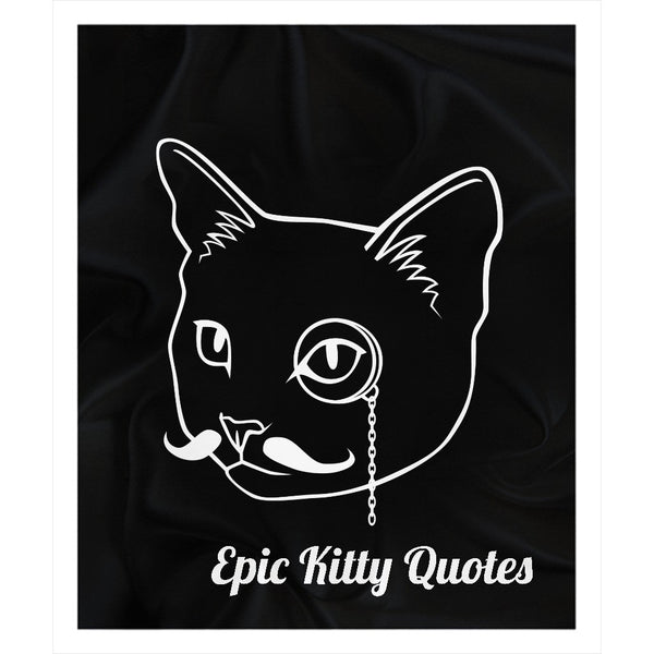 Cat Blanket Fleece Sherpa Throw Epic Kitty Quotes Logo 100% Polyester 50x60 inch EKQ, Blanket, EpicKittyQuotes