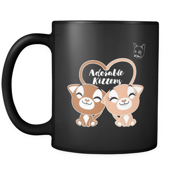 Adorable Kittens Black 11 oz Cute Cat Coffee Mug EKQ
