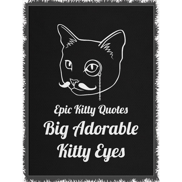 Cat Blanket for People Woven Throw Big Adorable Kitty Eyes 100% Cotton 60x80 inch EKQ, Blanket, EpicKittyQuotes