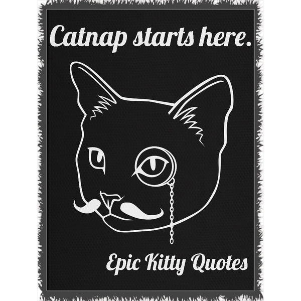 Cat Blanket for People Woven Throw Catnap starts here. 100% Cotton 60x80 inch EKQ, Blanket, EpicKittyQuotes