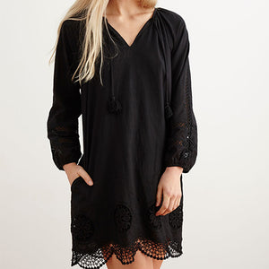 GISELE Cotton Embroidered Shift Dress