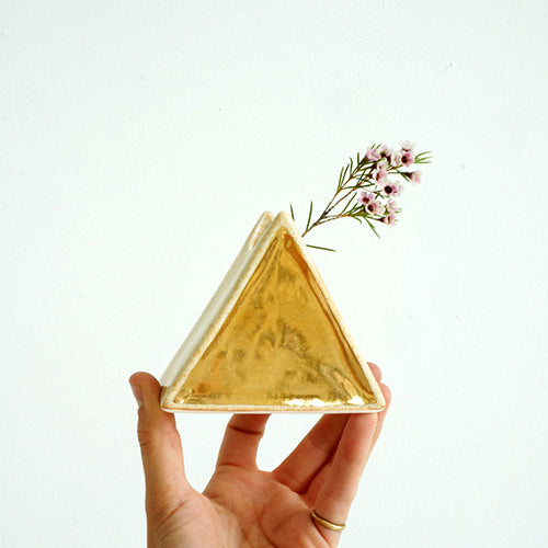 Cream + Gold Triangle Bud Vase