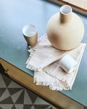 Peach Grid Napkin Set