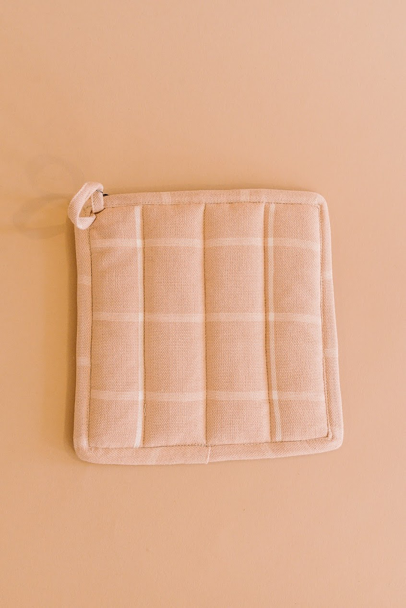 Peach Grid Potholder