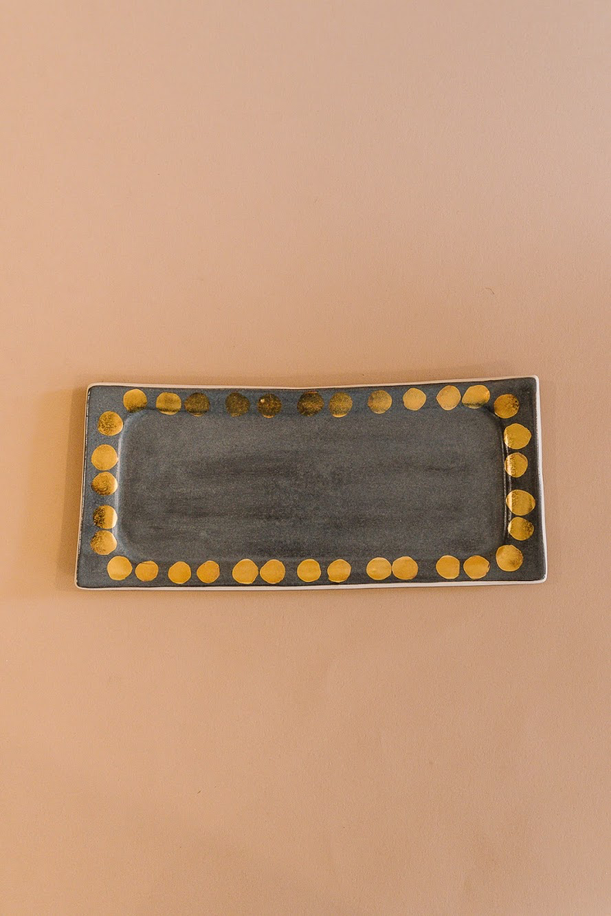 Charcoal Grey + Gold Dot Tray