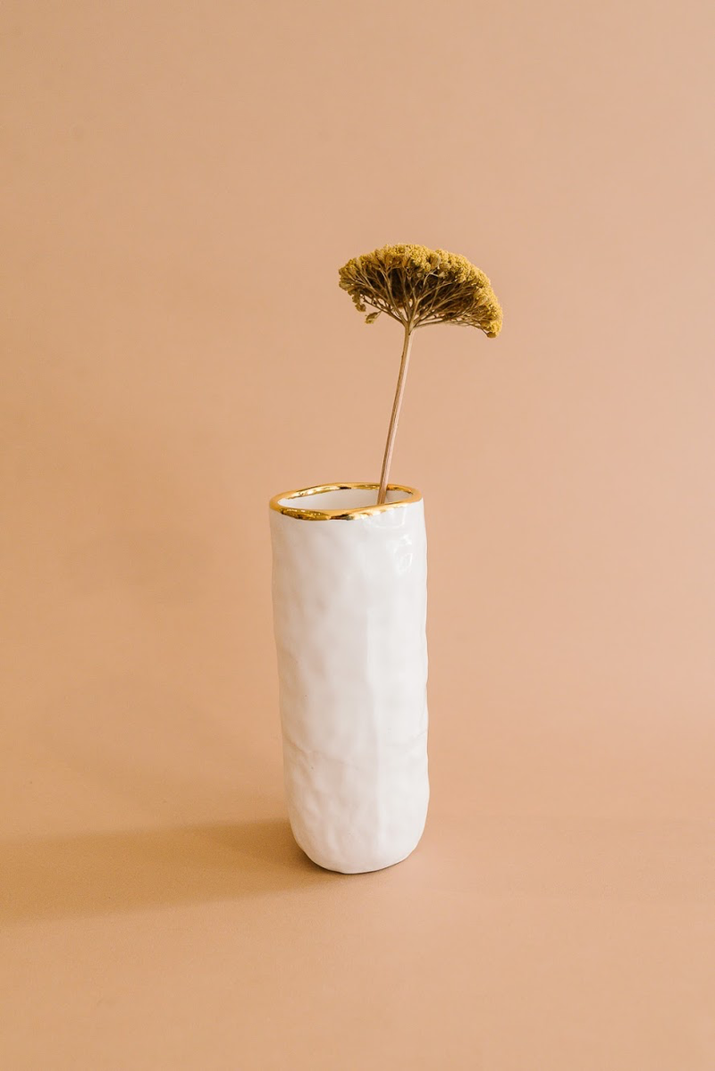 White + Gold Cylindrical Vase