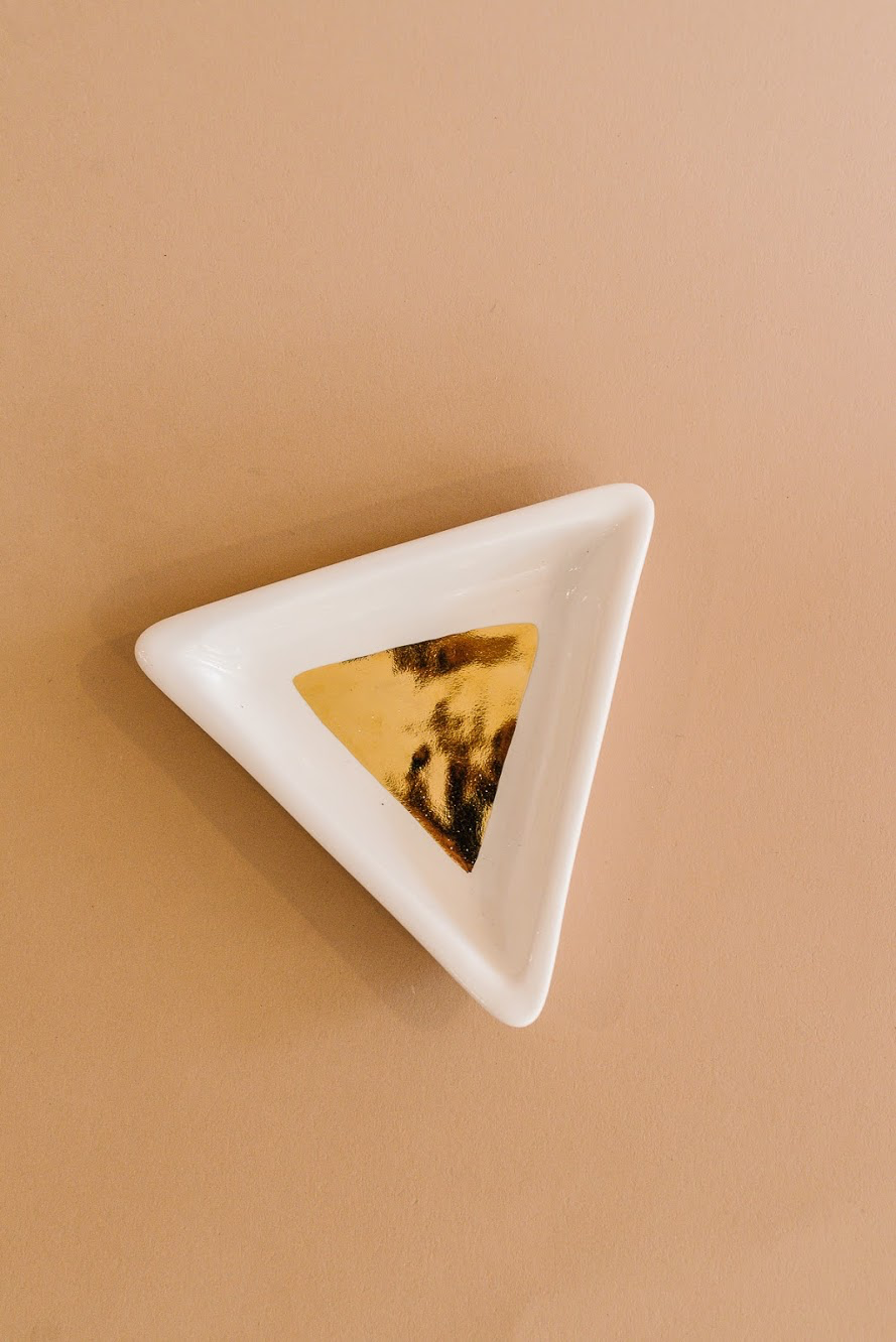 White + Gold Triangle Ring Dish