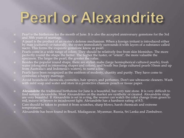 June Birthstone of the Month- Pearl or Alexandrite