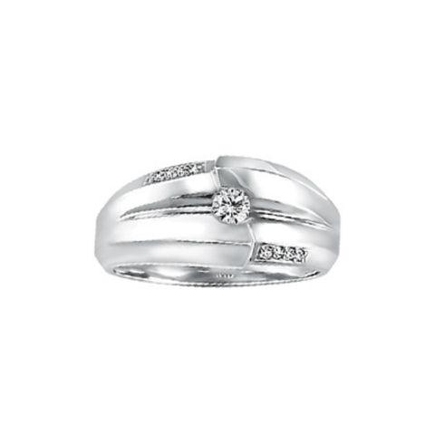 10k White Gold Mens Canadian Diamond Ring