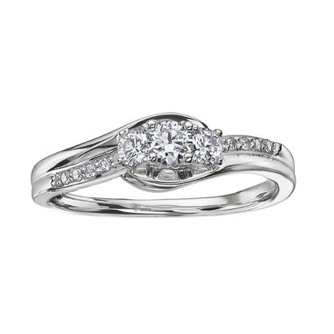 14k White Gold Canadian Diamond Matching Bridal Set