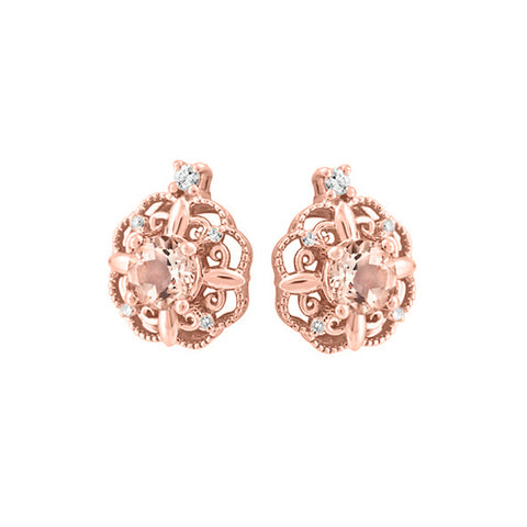 10k Rose Gold Morganite & Canadian Diamond Earrings