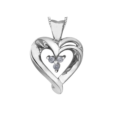 10k White Gold & Diamond Heart Necklace