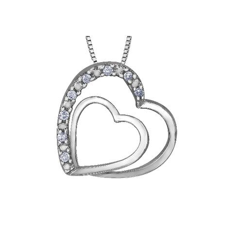 10k White Gold & Diamond Double Heart Necklace