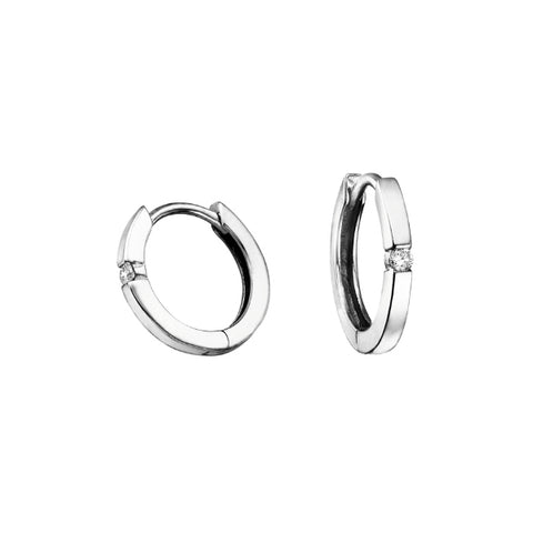 10k White Gold Single Diamond Accent Hoops