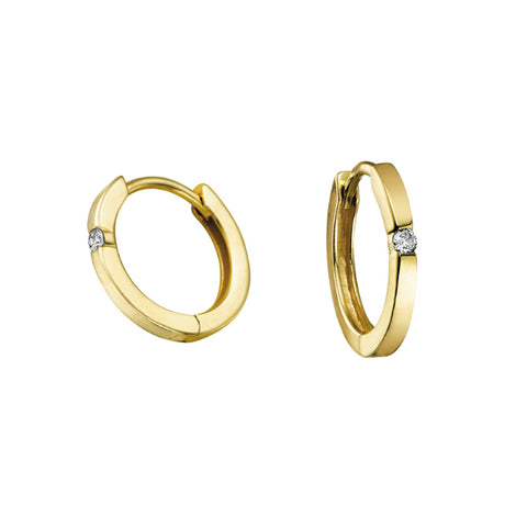 10k Yellow Gold Single Diamond Accent Hoops