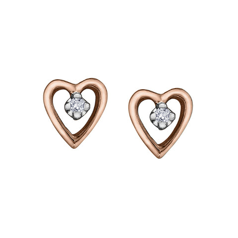 10k Rose & White Gold Diamond Heart Stud Earrings