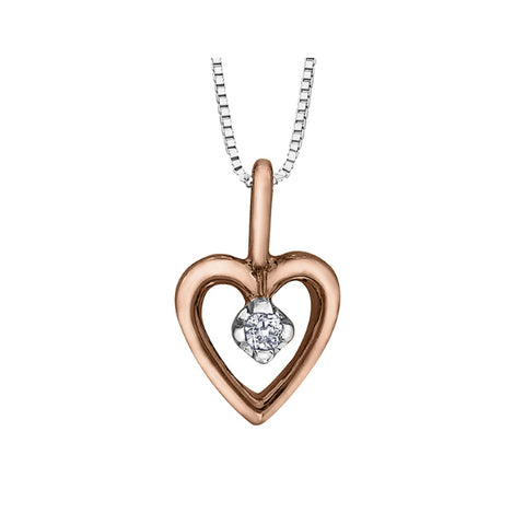 10k Rose & White Gold Diamond Double Heart Necklace