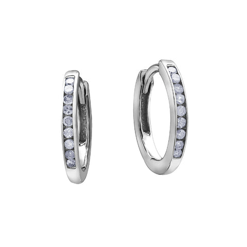 10k White Gold & Diamond Channel Set Hoops