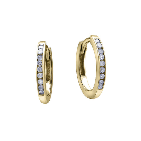 10k Yellow Gold & Diamond Channel Set Hoops