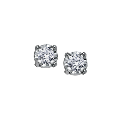 10k White Gold & Diamond Stud Earrings