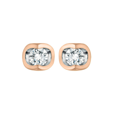 10k Rose & White Gold Diamond Stud Earrings