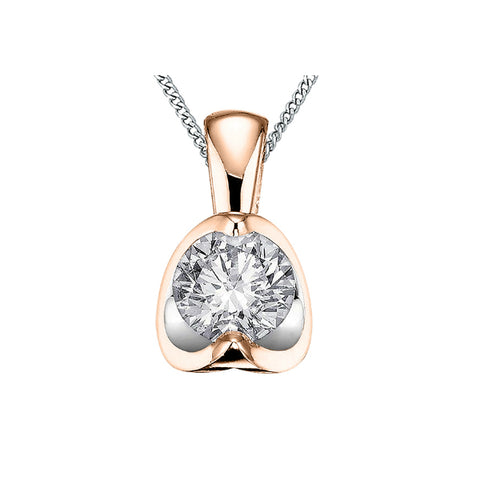 10k White & Rose Gold Diamond Butterfly Necklace