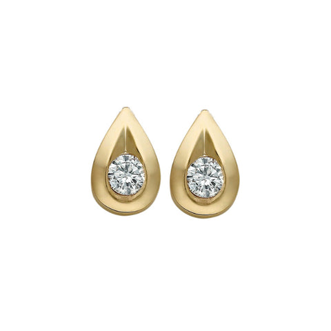 10k Yellow Gold & Diamond Teardrop Stud Earrings