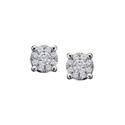 10k White Gold & Diamond Cluster Stud Earrings